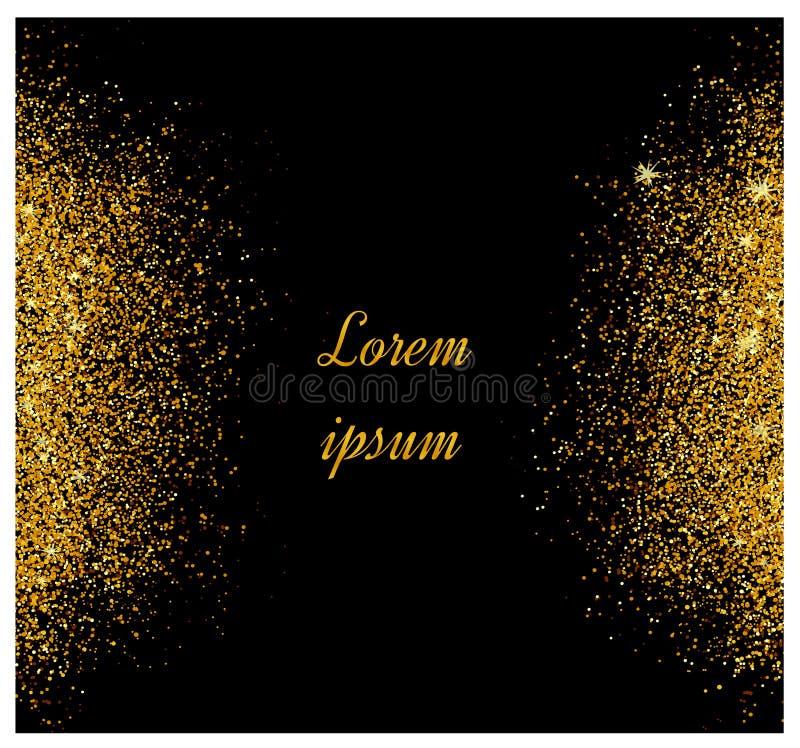 抽象金子闪烁背景 卡片的金黄闪闪发光 皇族释放例证