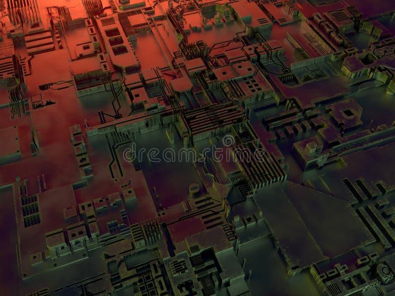 抽象金属模式 色的光阐明的未来派techno背景 数字式3d例证 向量例证
