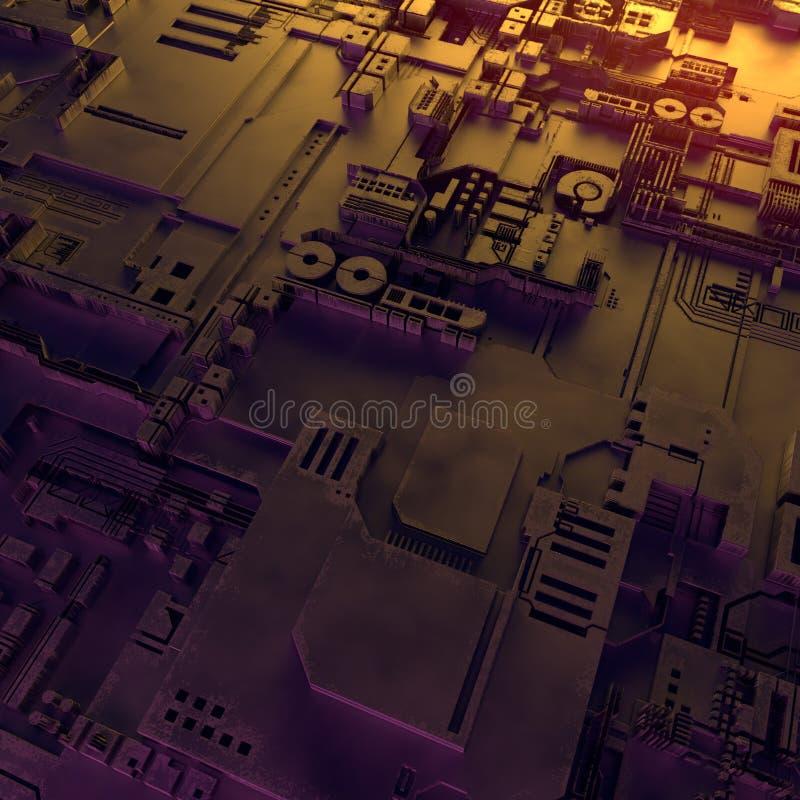抽象金属模式 色的光阐明的未来派techno背景 数字式3d例证 库存例证