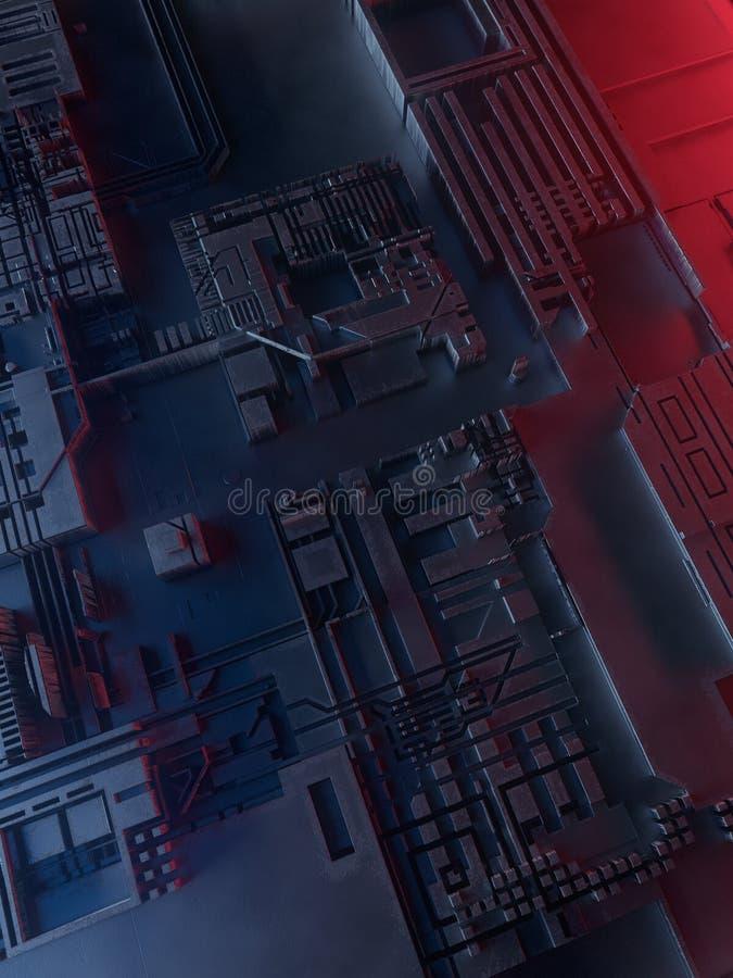 抽象金属模式 被阐明的未来派techno背景 库存例证