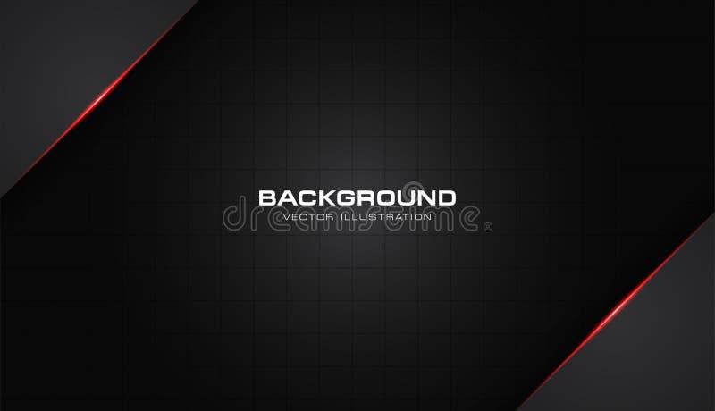 抽象金属红色发光的颜色黑色框架布局现代技术设计传染媒介模板背景 库存例证
