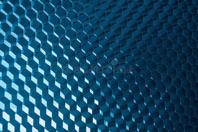 抽象金属蜂窝网格蓝色背景 免版税库存照片