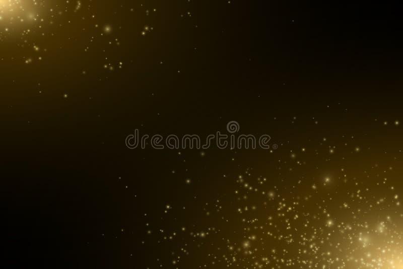 抽象金黄光 飞行的不可思议的金黄尘土和强光 欢乐背景的圣诞节 光线影响 金黄浪花 传染媒介il 向量例证