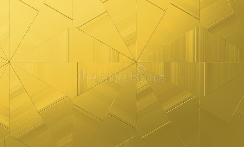 抽象金黄几何背景 金创造性的设计的三角纹理 皇族释放例证