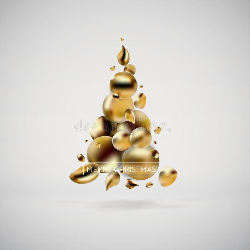 抽象金黄圣诞树 现代图表元素液体可变的背景  卡片的,海报,飞行物模板 向量例证