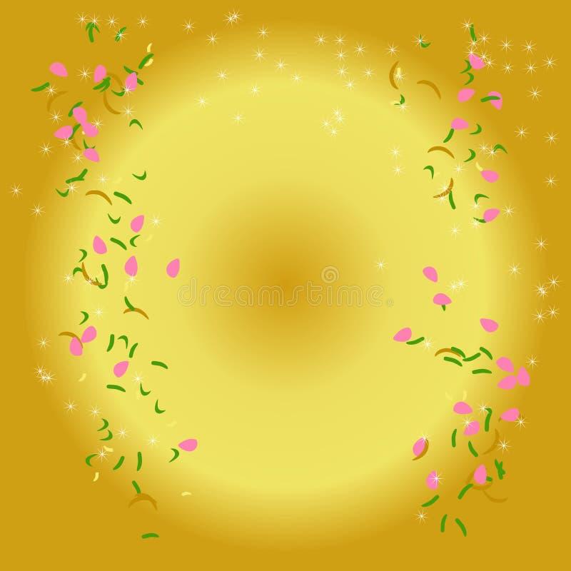 抽象金黄阳光背景、落下的桃红色花瓣、绿色叶子和白色吹的种子与冠毛植物头发 向量例证