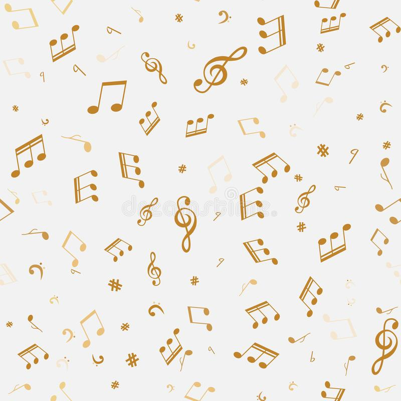 抽象金黄音乐注意无缝的样式 库存例证
