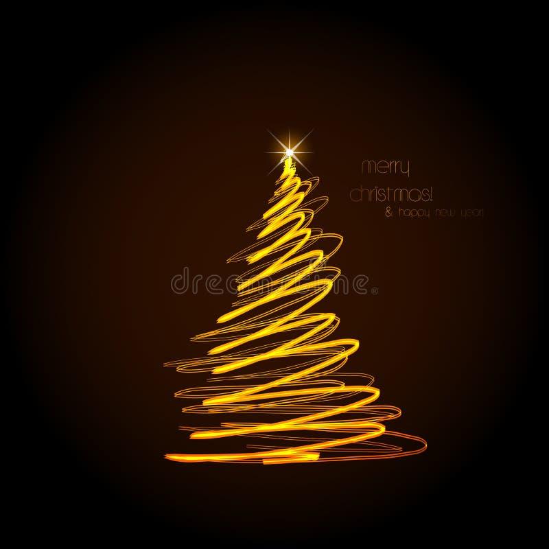 抽象金黄圣诞树,容易编辑可能 向量例证