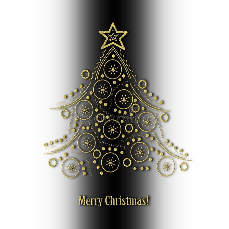 抽象金黄圣诞树 免版税库存照片