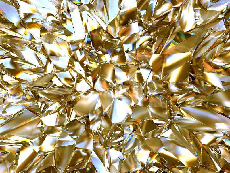 抽象金水晶玻璃背景 皇族释放例证