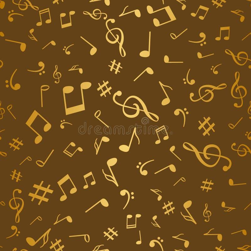 抽象金黄音乐注意您的设计的无缝的样式背景传染媒介例证 库存例证