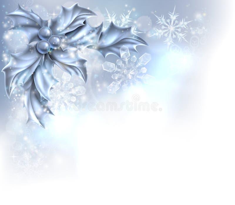 抽象银色圣诞节霍莉背景 库存例证
