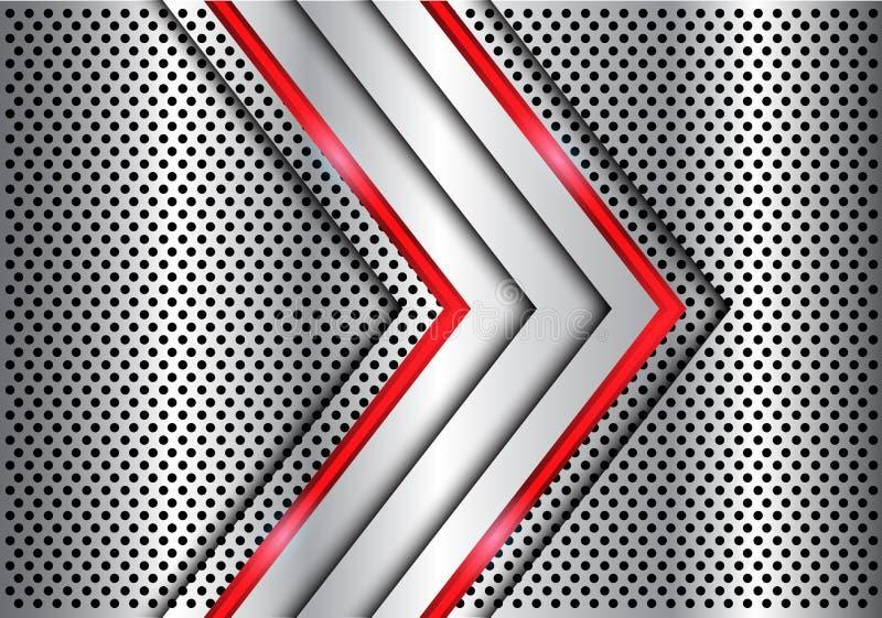 抽象银色红线在金属圈子滤网设计现代豪华未来派背景传染媒介的光箭头 皇族释放例证