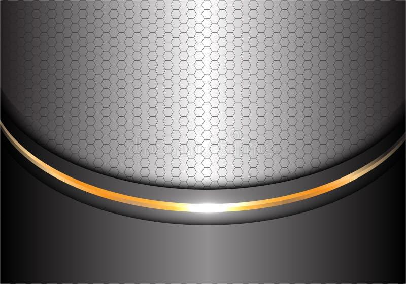 抽象银色金线曲线六角形滤网设计现代豪华背景纹理传染媒介 库存例证