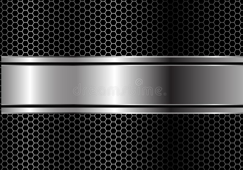 抽象银色黑线在金属六角形滤网设计现代豪华未来派背景传染媒介的横幅交叠 库存例证