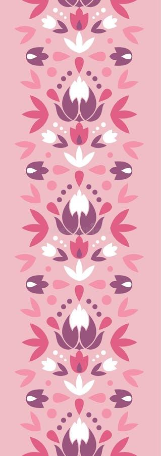 抽象锦缎开花垂直的无缝的样式 向量例证