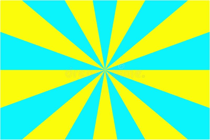 抽象镶有钻石的旭日形首饰的样式,黄色和浅兰的光芒背景 向量例证, EPS10 几何模式 库存例证