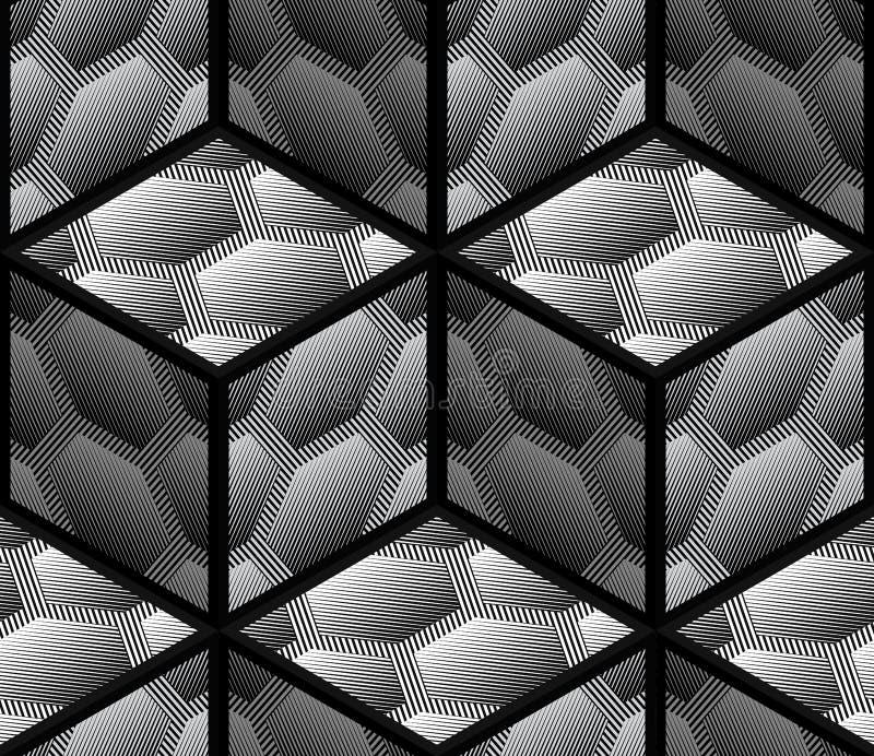 抽象镶边3D六角形几何传染媒介无缝的样式 向量例证