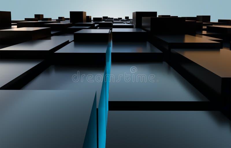 抽象长方体例证 建筑,建筑学,地平线,修造的概念背景 光滑和发光的黑立方体 向量例证