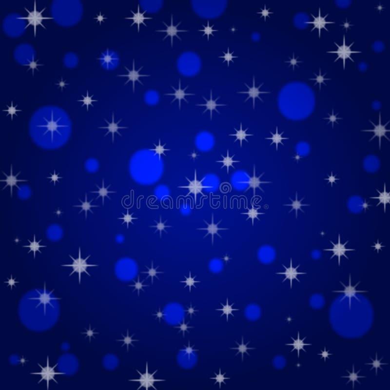 抽象闪光星在蓝色背景中 皇族释放例证