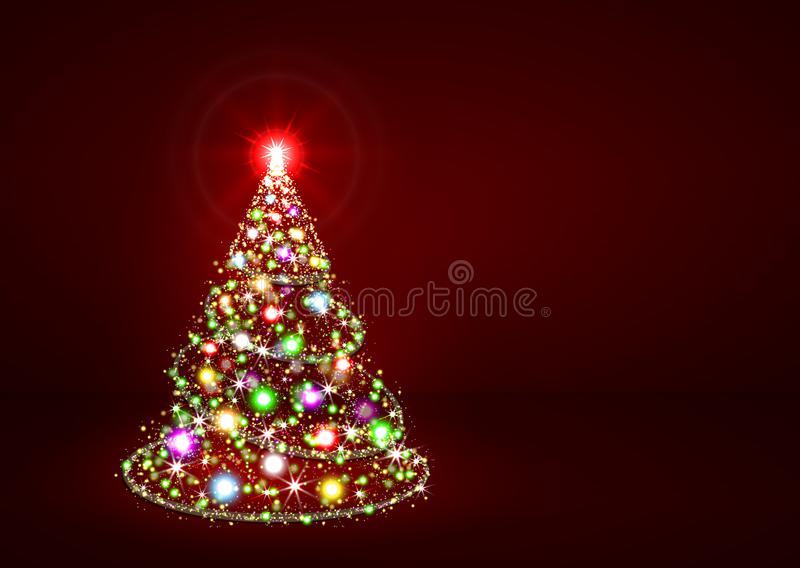 抽象闪烁明亮的五颜六色的圣诞节杉树 向量例证