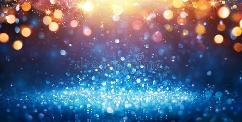 抽象闪烁-与金黄圣诞灯的蓝色闪烁 库存图片
