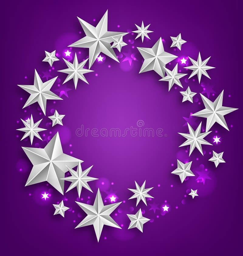 抽象问候圆的框架由银色星制成 皇族释放例证