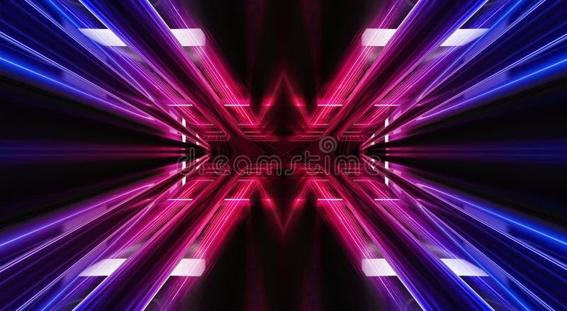 抽象隧道,有蓝色和桃红色光和霓虹聚焦光芒的走廊  有光芒和线的空的暗室 砖墙, 向量例证
