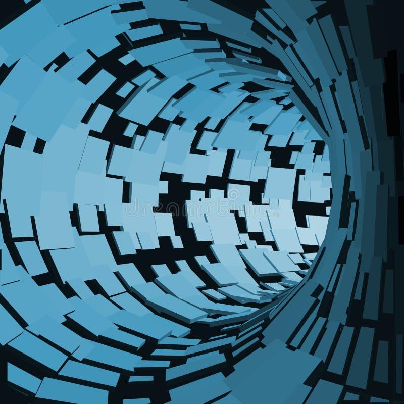 抽象隧道 未来派样式 3D摘要表面 转动的管隧道 透视背景 库存例证