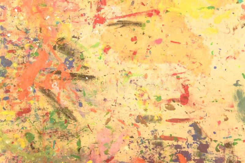抽象难看的东西丙烯酸酯手画在帆布背景 库存例证