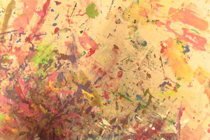 抽象难看的东西丙烯酸酯手画在帆布背景 向量例证