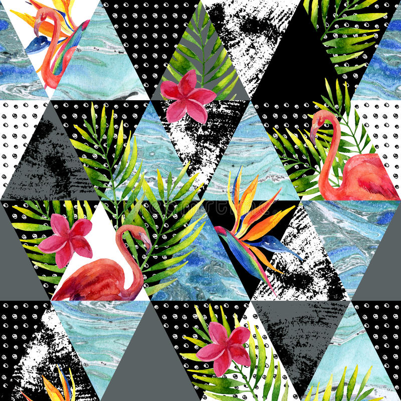 抽象难看的东西和大理石三角与热带花,叶子 库存例证