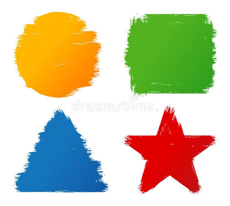 抽象难看的东西手画五颜六色的刷子冲程形状 皇族释放例证