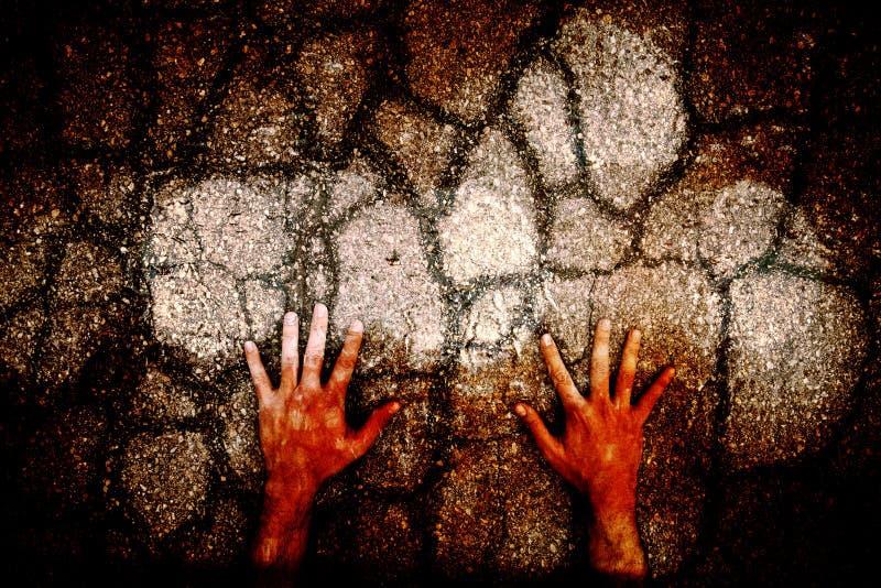 抽象难看的东西破裂的地板用人的手 向量例证