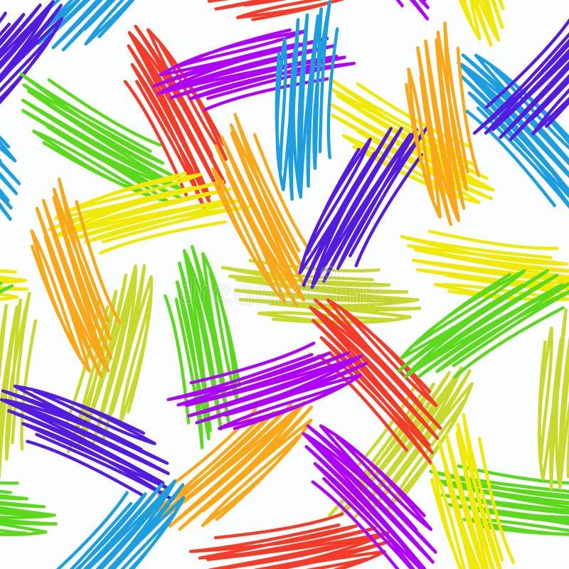 抽象难看的东西纹理无缝的样式 在白色背景的五颜六色的彩虹 向量 皇族释放例证