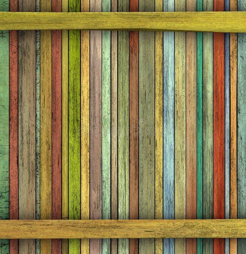 难看的东西3d回报色的木木材板条背景 免版税库存照片