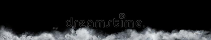 抽象雾或烟移动的全景在黑背景的 免版税库存照片