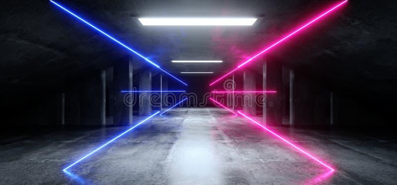 抽象霓虹激光紫色蓝色发光的科学幻想小说现代黑暗的具体水泥沥青未来派太空飞船地下车库隧道 皇族释放例证