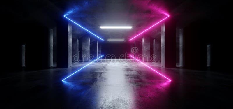 抽象霓虹激光紫色蓝色发光的科学幻想小说现代黑暗的具体水泥沥青未来派太空飞船地下车库隧道 向量例证