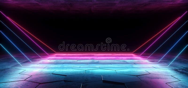 抽象霓虹科学幻想小说激光在黑暗的空的空难看的东西具体六角地板的室带领了桃红色蓝色紫色发光的未来派线 向量例证