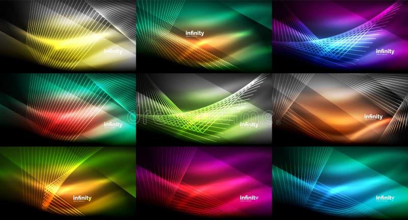抽象霓虹背景,在黑暗的发光的发光的线的兆收藏 向量例证