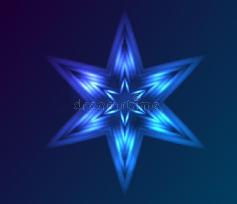 抽象霓虹装饰星 库存例证