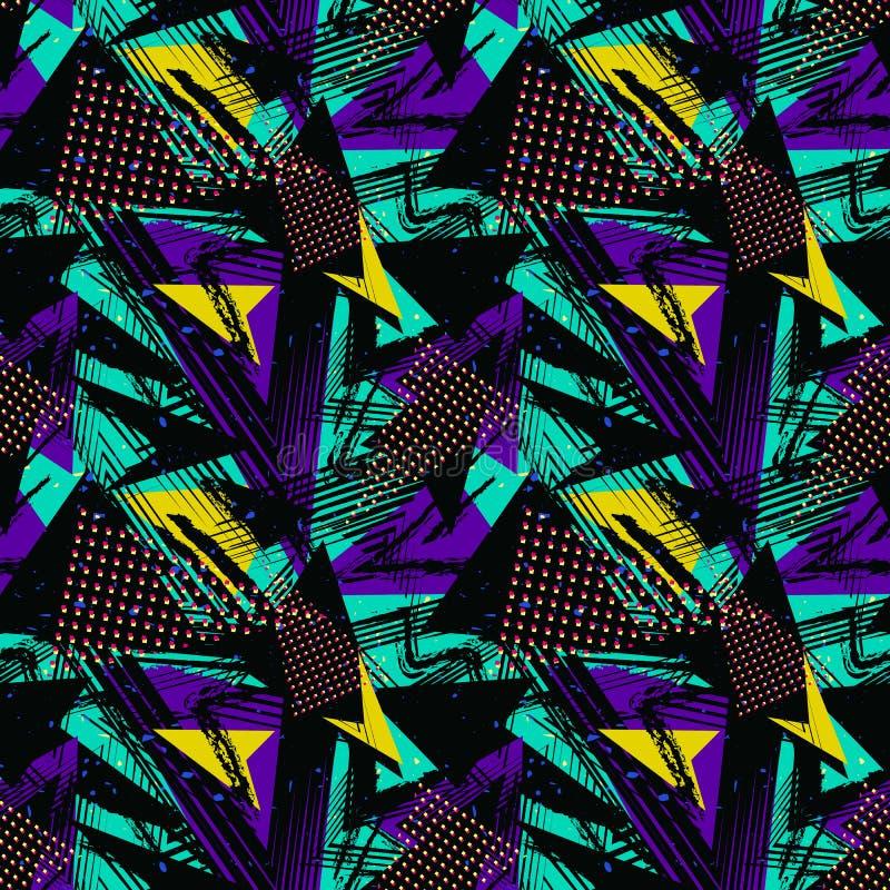 抽象霓虹难看的东西无缝的样式 传染媒介都市街道五颜六色的纹理 向量例证