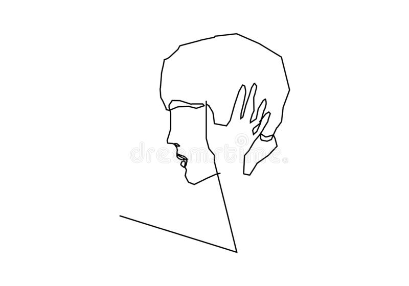 抽象面孔亲吻的连续的一线描简单派设计 库存例证