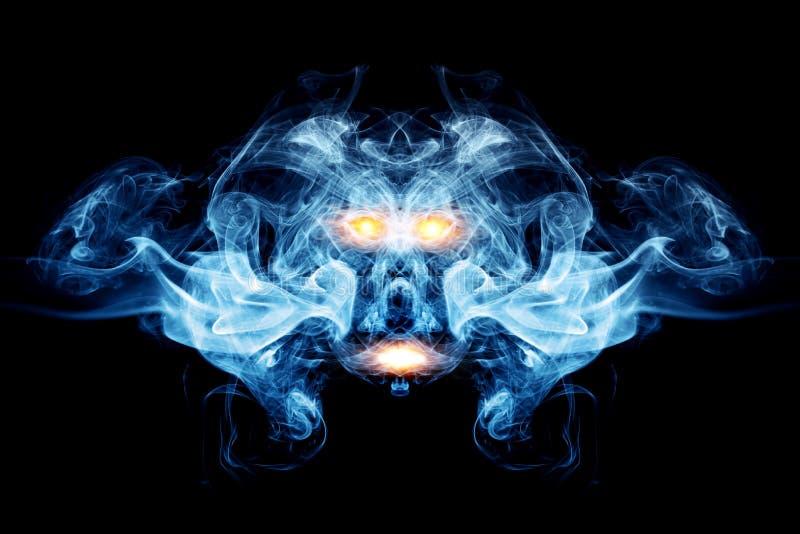抽象面孔由烟,火焰制成 皇族释放例证