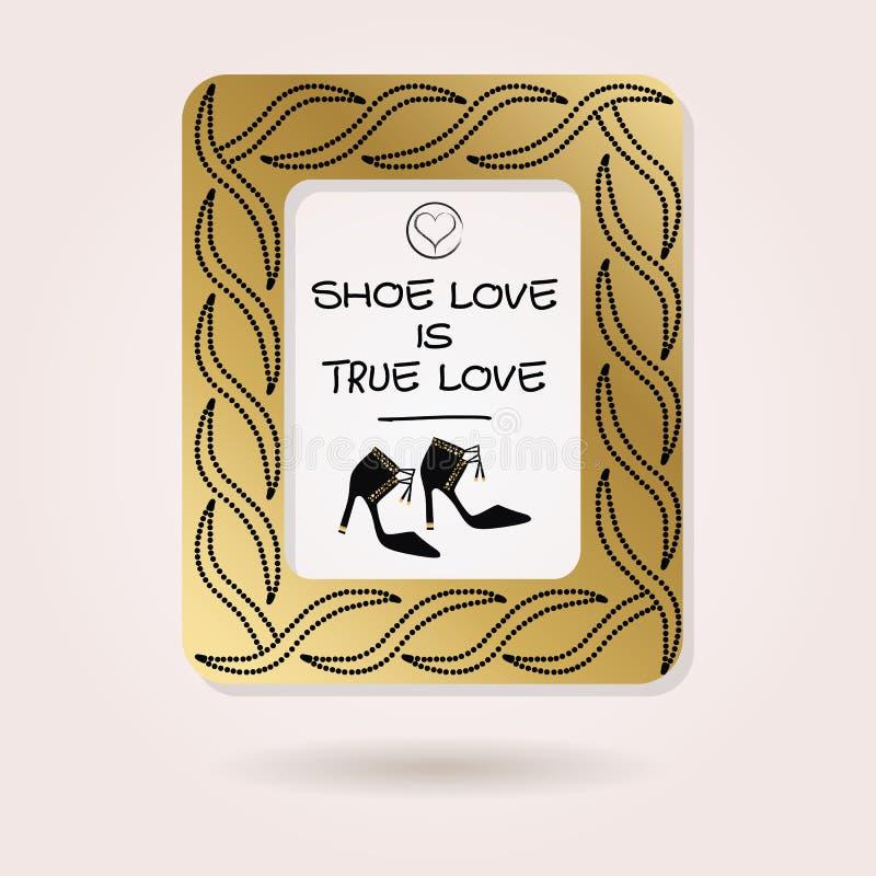 抽象鞋子爱是真实的爱金黄散布的照片框架 库存例证