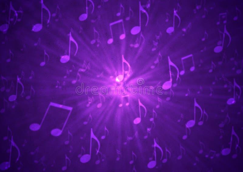 抽象音乐笔记在模糊的脏的黑暗的紫色背景中炸开 免版税库存照片