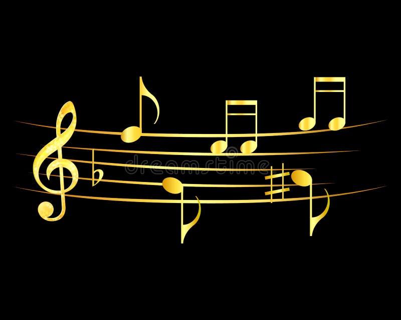 抽象音乐笔记设计 音乐注意在黑背景的金子 皇族释放例证