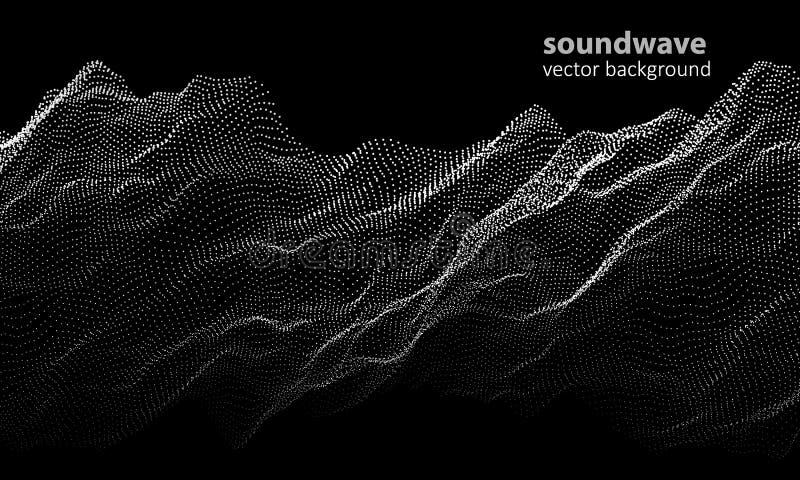 抽象音乐背景颜色 与小点的调平器音频波浪 音乐调平器传染媒介概念 皇族释放例证