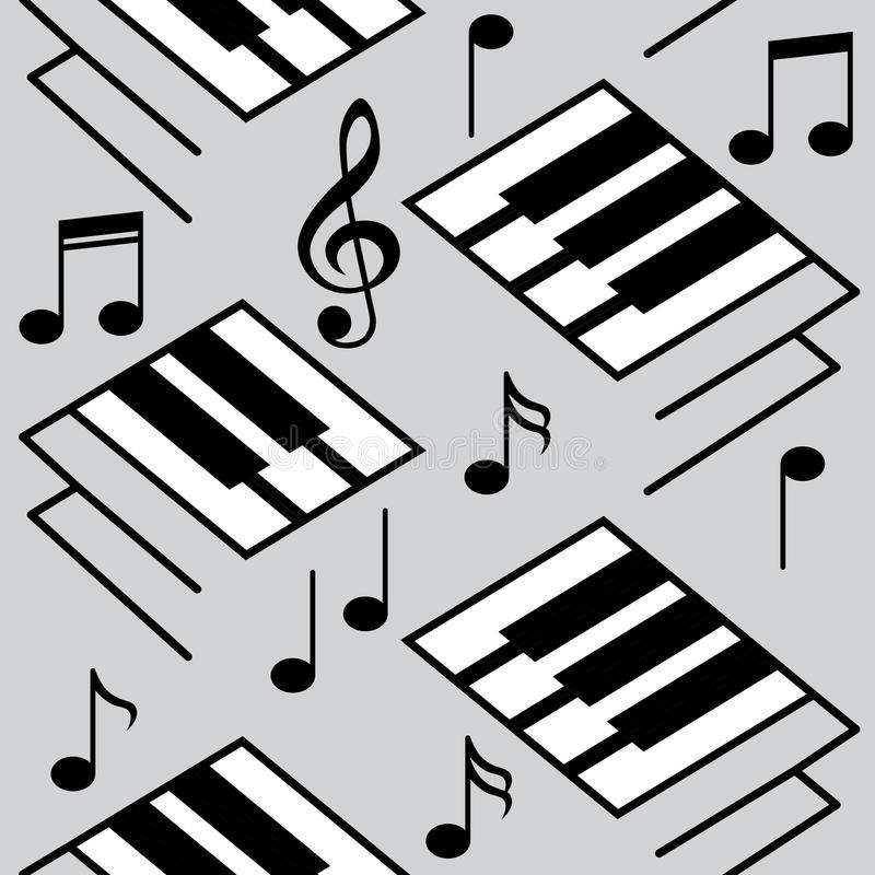 抽象音乐背景 钢琴钥匙和音符 库存例证